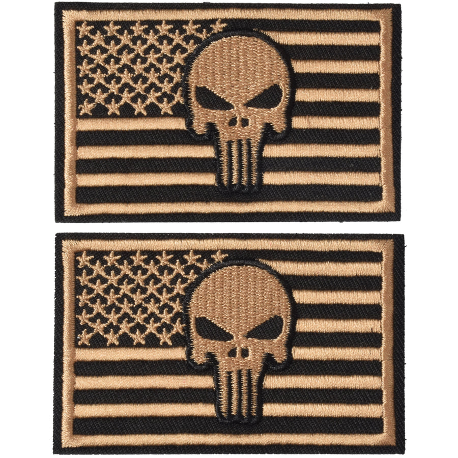 2 Pieces Dead Skull USA American Flag Tactical Morale Hook & Loop Patch, Dersert Gold