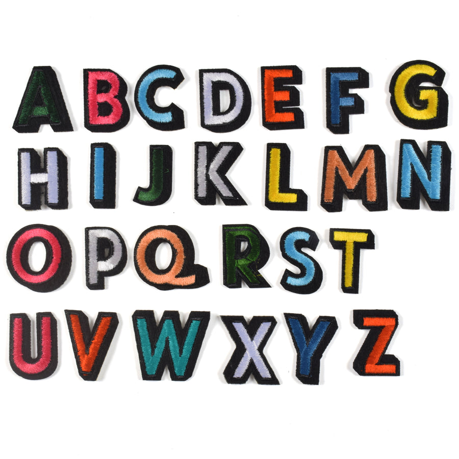 J.CARP Iron on Sew on Letter Patches for Clothes, 26pcs Alphabet A to Z, Colorful