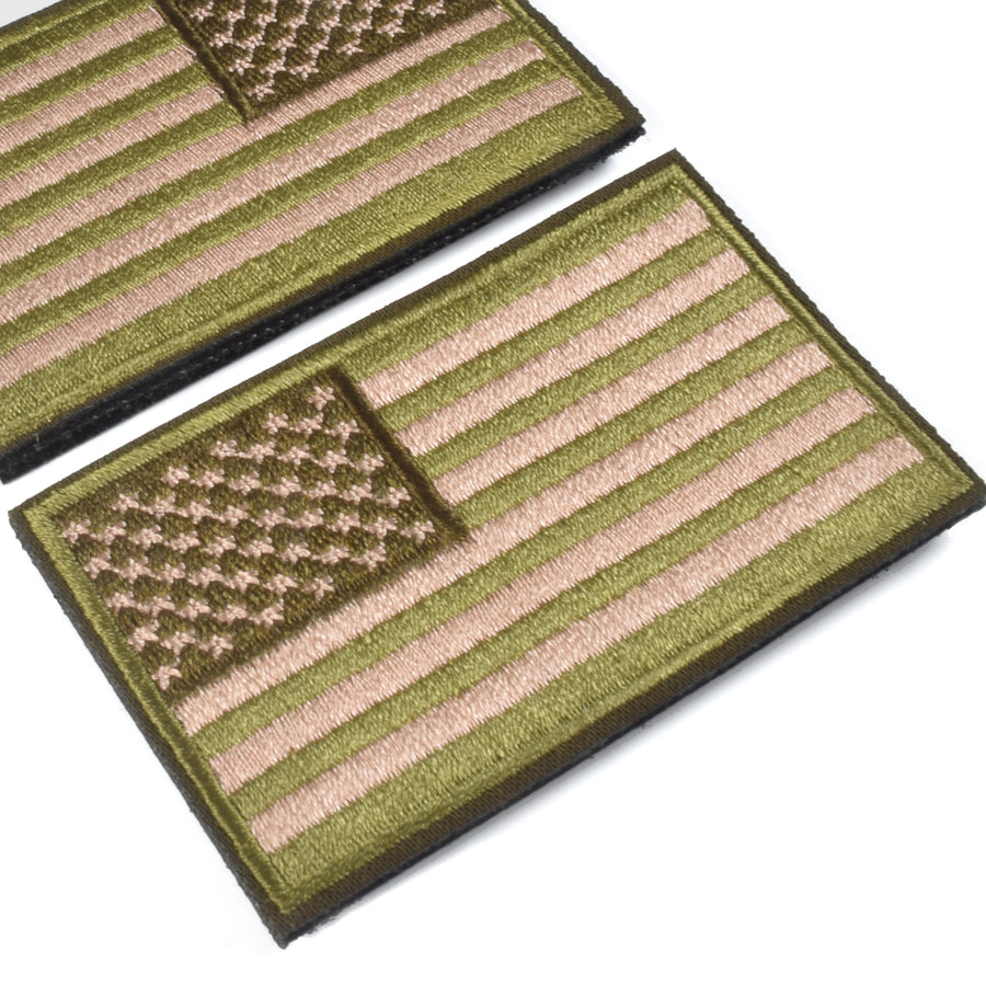 2 Pieces Tactical US American Flag Patch, Military USA United States of America Uniform Emblem Patches, Multitan-Reverse Green