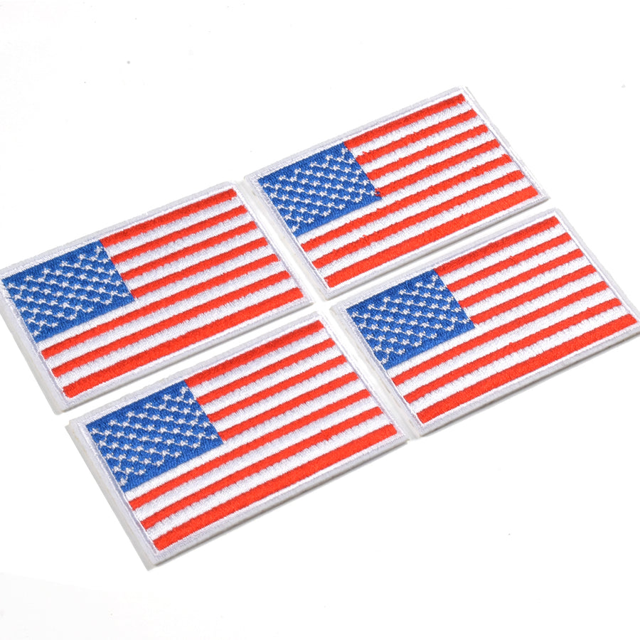 J.CARP 4 Pack American US Flag Patch, Embroidered Sew on Iron on Patches, 4PCS Red and Blue