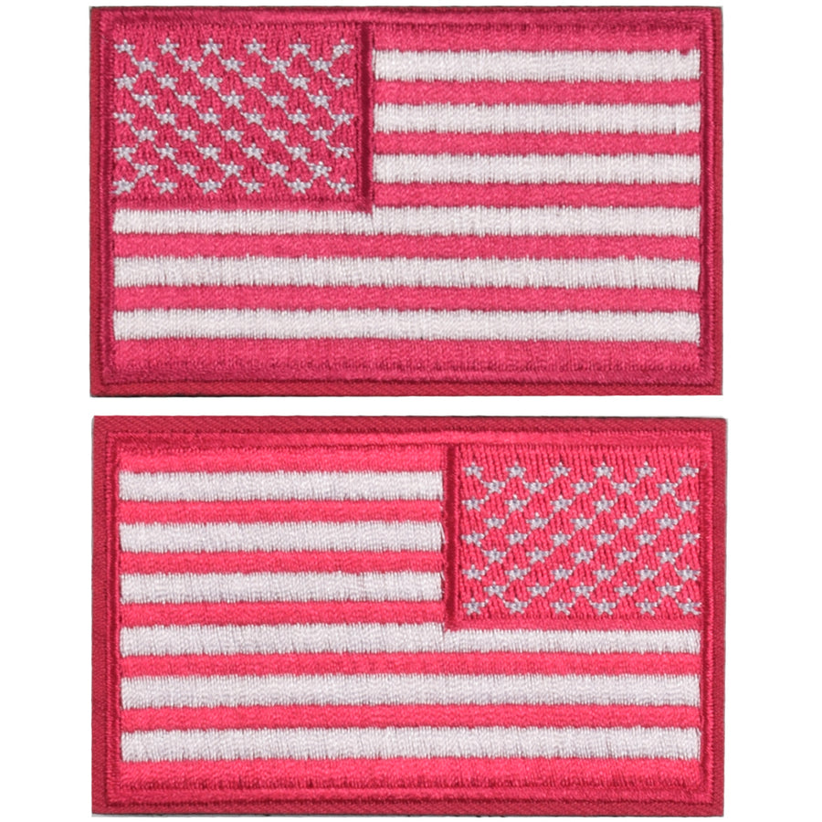 2 Pieces Tactical US American Flag Patch, Military USA United States of America Uniform Emblem Patches, Multitan-Reverse Pink