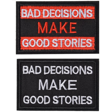 Bad Decisions Make Good Stories Patch, 2 Pack, Embroidered Morale Patches Tactical Funny for Hat Backpack Jackets (Applique Fastener Hook - Loop), Red & Black Color