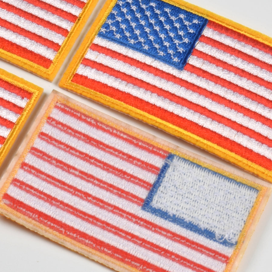 J.CARP 4 Pack American US Flag Patch, Embroidered Sew on Iron on Patches, 4PCS Golden Yellow Border