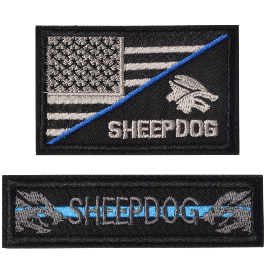Sheepdog thin blue line, Tactical USA Flag Patch