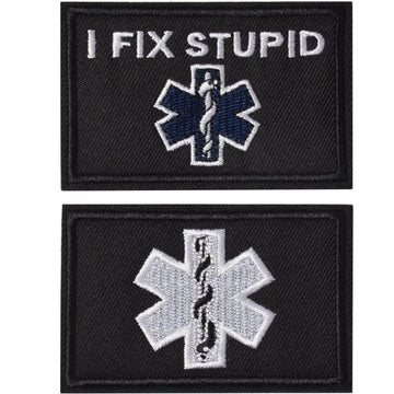 I Fix Stupid EMT Medic Funny Patches, Tactical Military Morale Patch Hook & Loop Tactical Patch