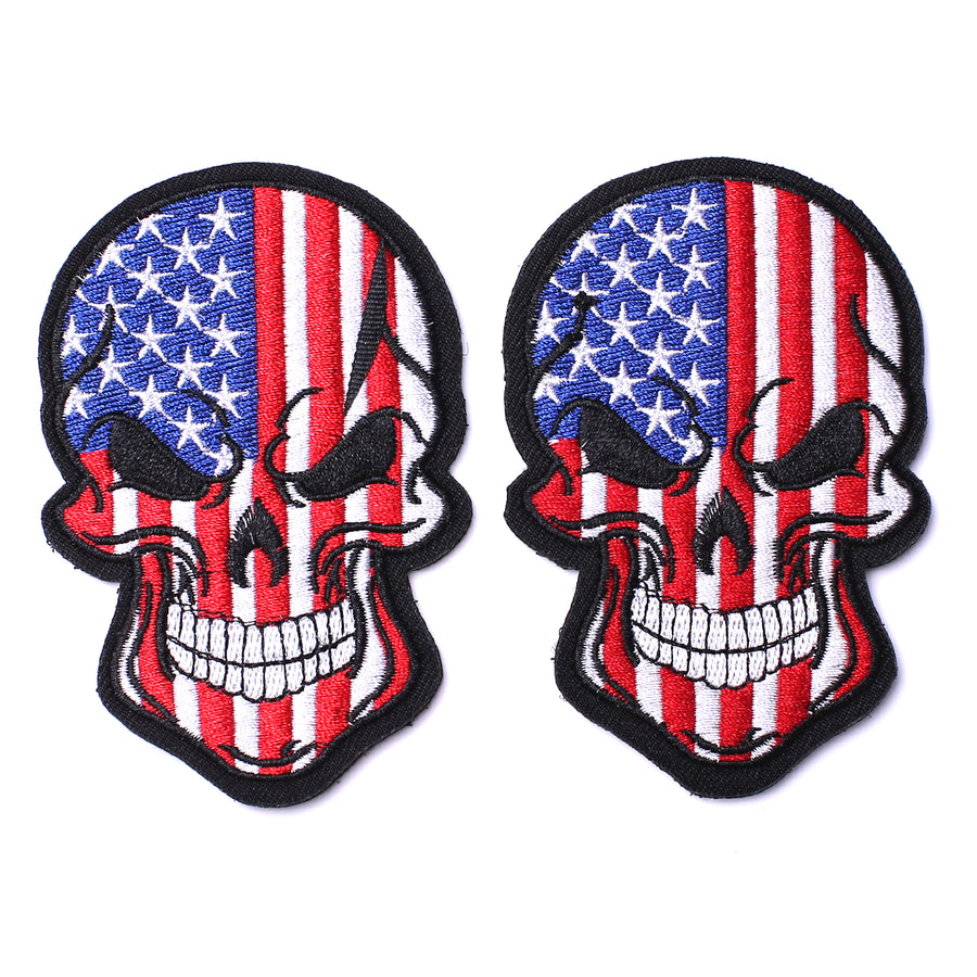 Tactical USA US American Flag Horror Scary Dead Skull Head Skeleton Patch Hook and Loop Embroidered Military Skull Sticker Patch for Biker Moto Jackets Jeans Jersey Pants -3.54x2.36