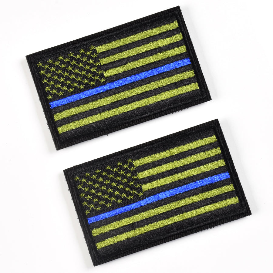 2 Pieces Tactical USA Flag Patch -Green & blue - American Flag US United States of America Military Uniform Emblem Patches