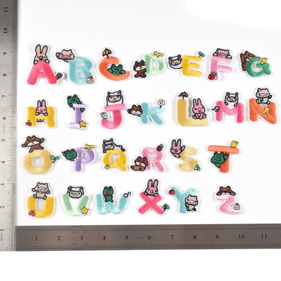 J.CARP Iron on Sew on Letter Patches for Clothes, 26pcs Alphabet A to Z, Bunny