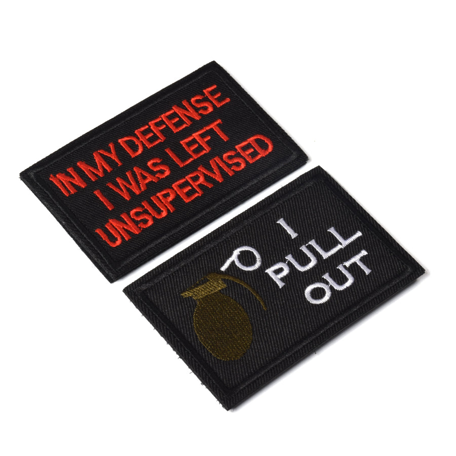I Pull Out & in My Defense I was Left Unsupervised Tactical Military Morale Patch for Tactical Gear