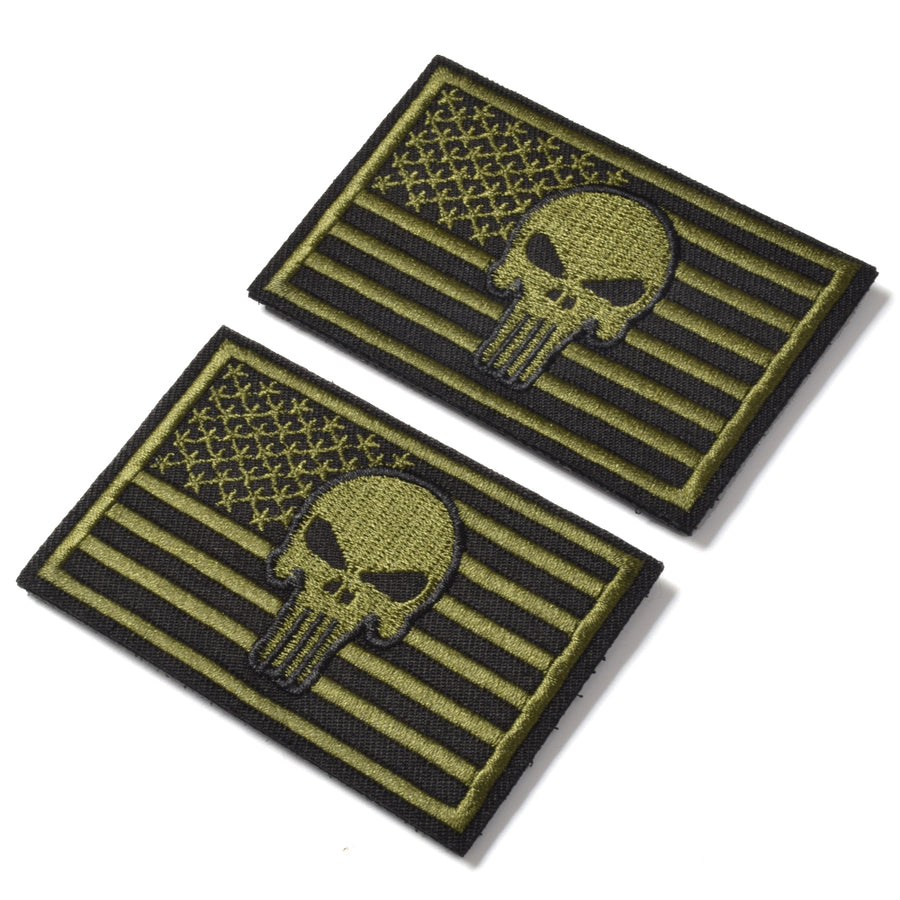 2 Pieces Dead Skull USA American Flag Tactical Morale Hook & Loop Patch, OD