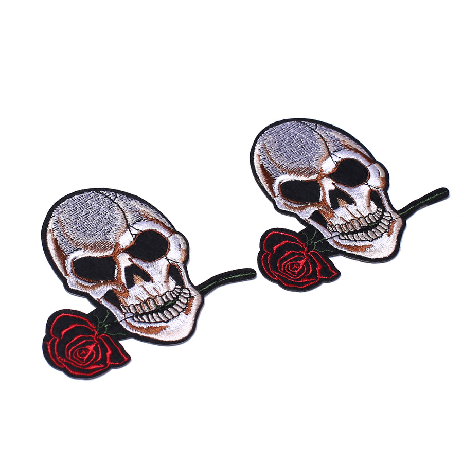 J.CARP 2 Pack American US Flag Patch, Embroidered Sew on Iron on Patches, 2PCS Skull and Roses
