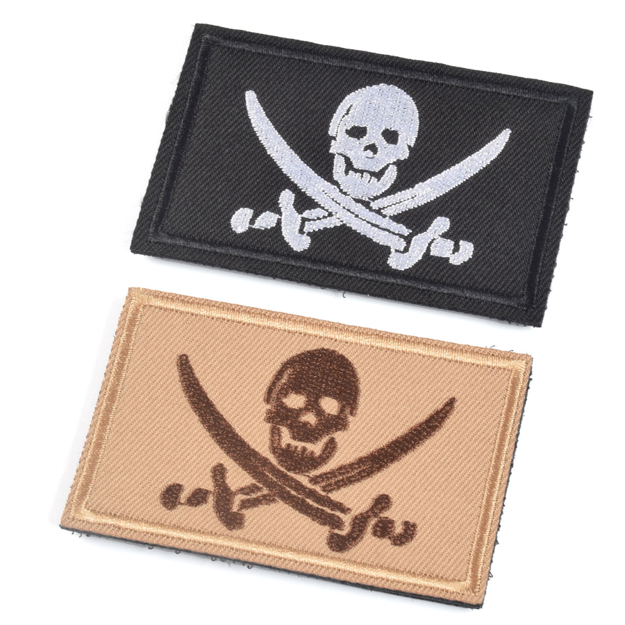 2 Pieces Pirate Skull & Cross Sword Flag Jolly Roger Tactical Morale Embroidery Patch Military for Tactical Gear