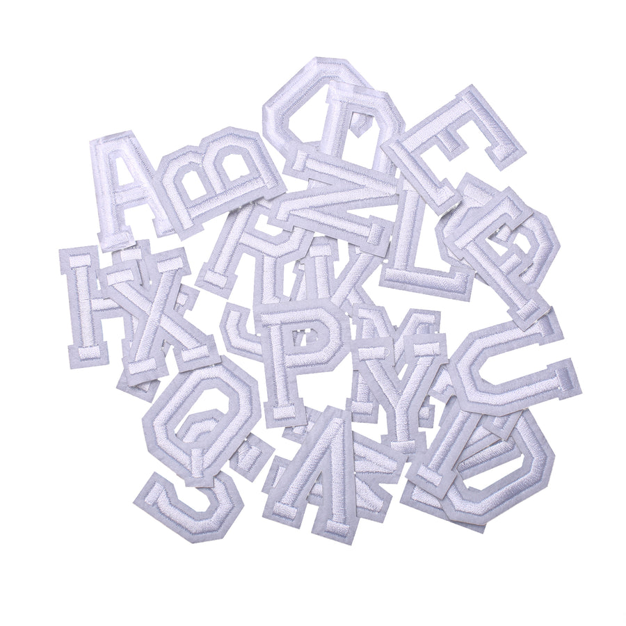 J.CARP Iron on Sew on Letter Patches for Clothes, 26pcs Alphabet A to Z, Classic White