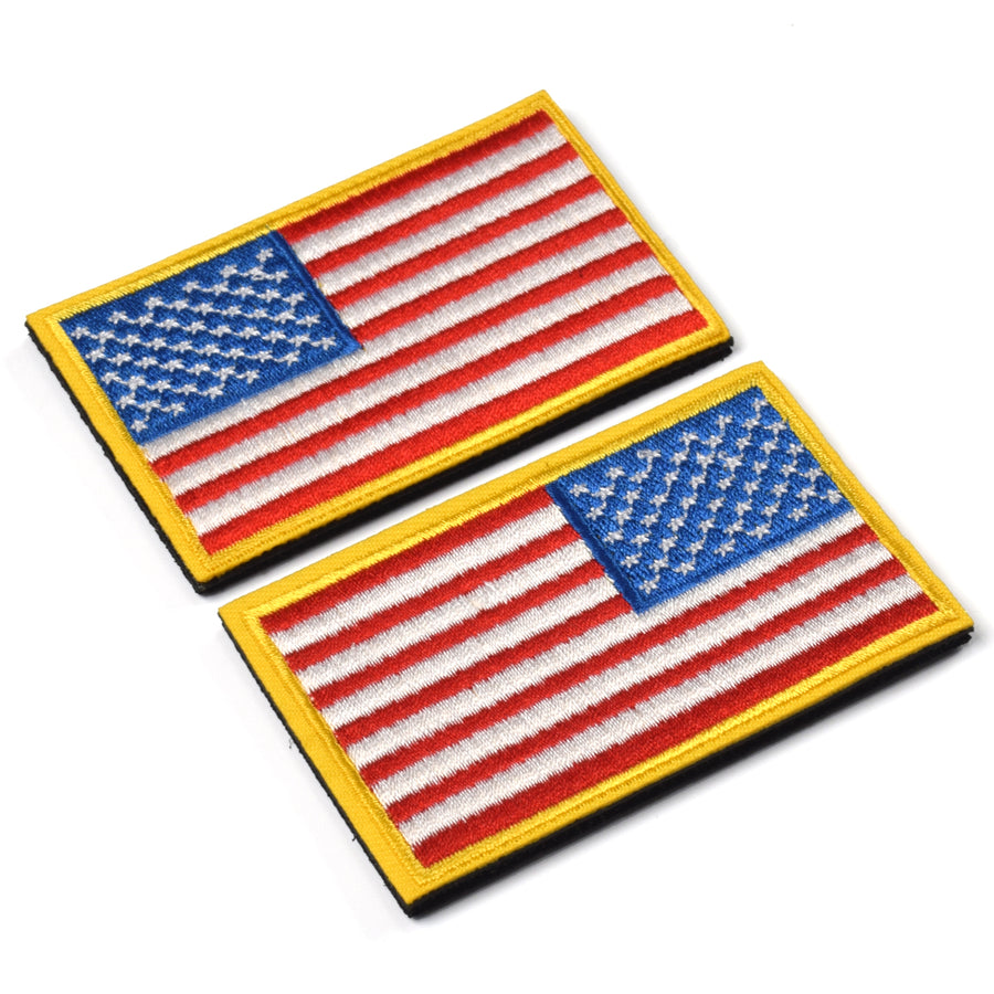 2 Pieces Tactical US American Flag Patch, Military USA United States of America Uniform Emblem Patches, Multitan-Reverse Gold Border