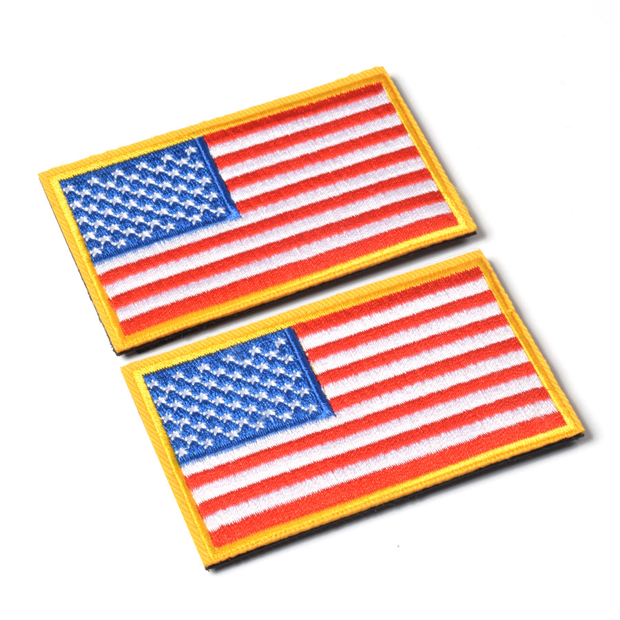 American Flag Embroidered Patch Gold Border USA United States of America Military Uniform Sew On Emblem