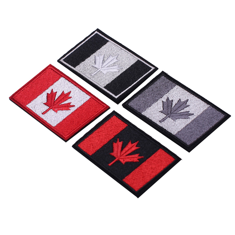 Canadian Flag Patches, Assorted Canada Maple Leaf 2x3 Inch Velcro Hook Loop Sticker Patch for Backpacks Hats Jackets, Set of 4