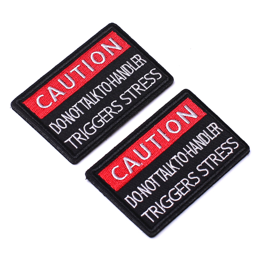 2Pcs Service Dog Patches, Caution Do Not Talk to Handler, Vests/Harnesses Emblem Embroidered Fastener Hook & Loop Patch