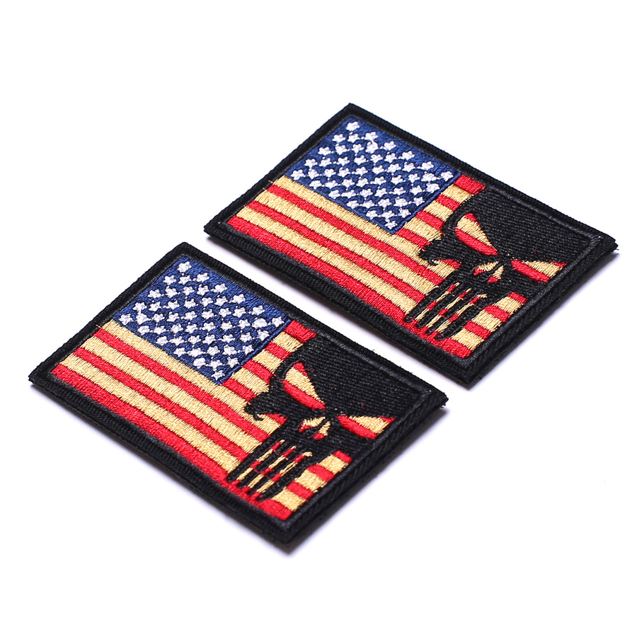 2 Pieces Dead Skull USA American Flag Tactical Morale Hook & Loop Patch, Gold Stars