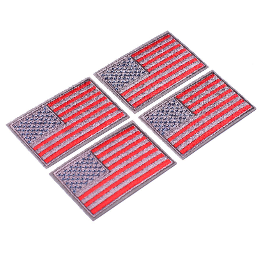 J.CARP 4 Pack American US Flag Patch, Embroidered Sew on Iron on Patches, 4PCS Red-grey Border