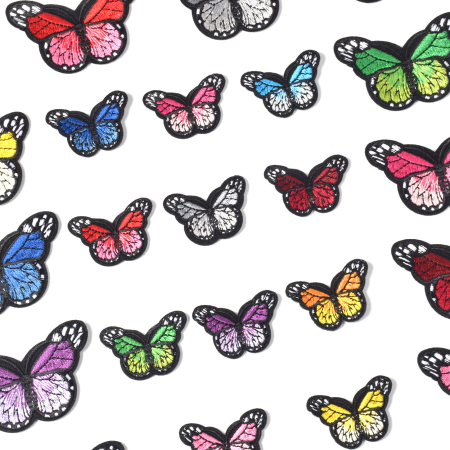J.CARP Butterfly Iron on Patches, Embroidered Sew Applique Repair Patch, 24PCS