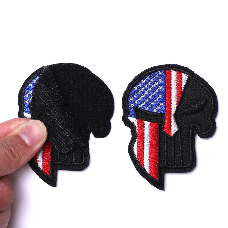 Tactical USA US American Spartan Dead Skull Helmet Patch Hook and Loop Embroidered Military US Dead Skull Flag Sticker Patch for Jackets Jeans Jersey Pants -3.54x2.36