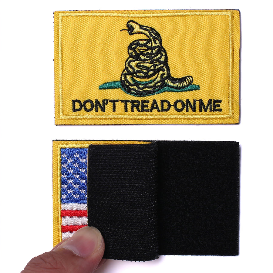 USA Flag Patch 2x3 Inch Don't tread on me Patch American Flag Tactical Military Morale Patch Border USA United States for Uniform Emblem 2 Pcs.