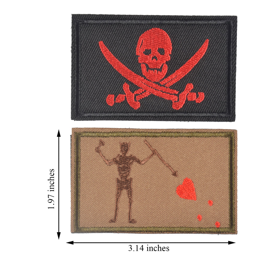 2 Pieces Blackbeard Pirate Flag Patch & Skull  Cross Sword Flag Jolly Roger Tactical Morale Embroidery Patch Military for Tactical Gear