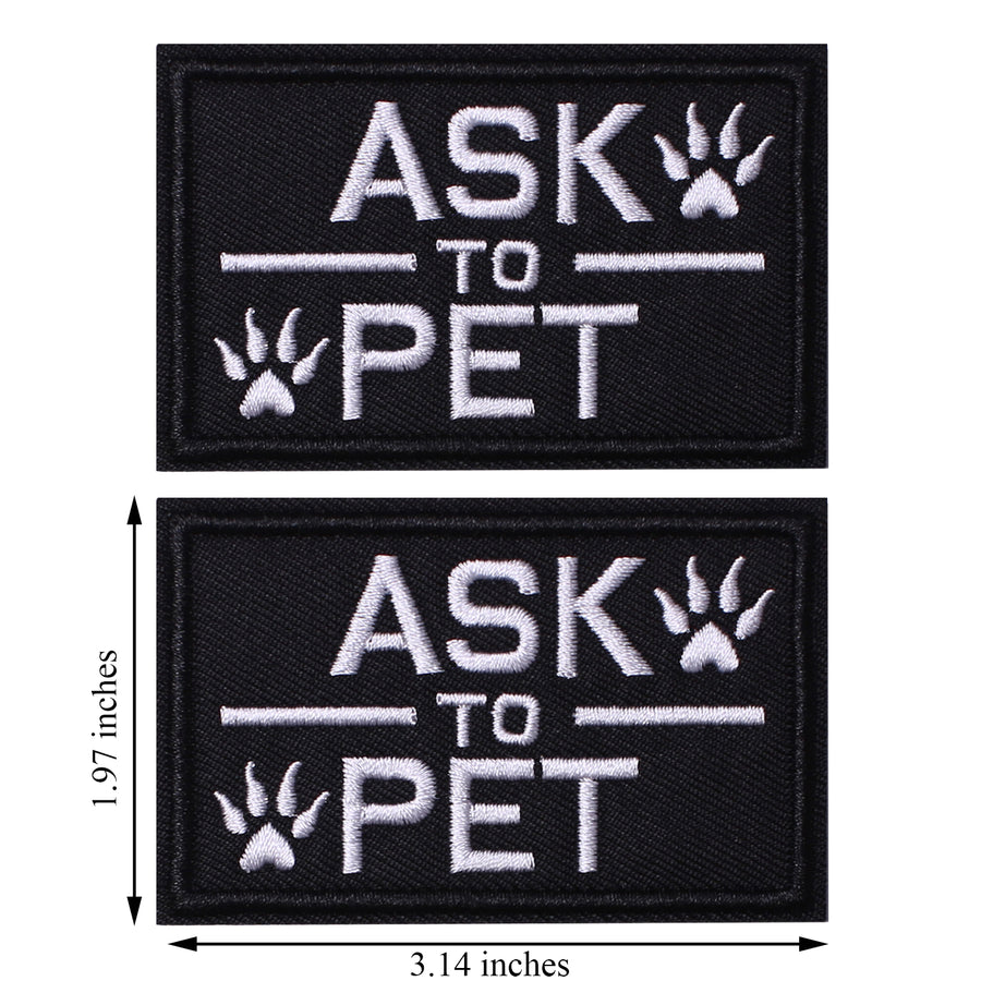 2 Pack Ask to Pet Dog Patches, Tags for Hook and Loop Patches Vests and Harnesses for Dogs, Black