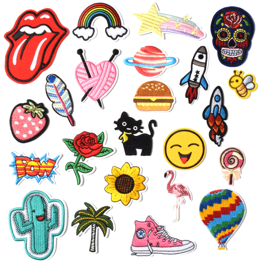J.CARP Embroidered Iron on Patches, Cute Sewing Applique for Jackets, Hats, Backpacks, Jeans, DIY Accessories, (22PCS)
