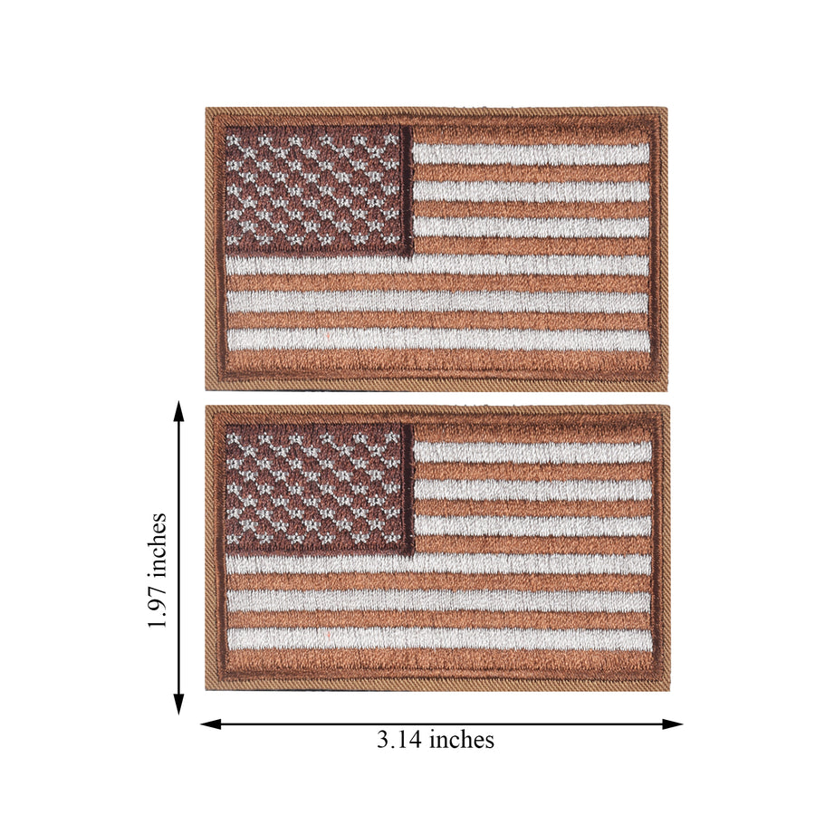 2 Pieces Tactical US American Flag Patch, Military USA United States of America Uniform Emblem Patches, Brown