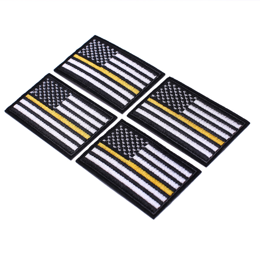 J.CARP 4 Pack American US Flag Patch, Embroidered Sew on Iron on Patches, 4PCS Black-yellow Thin