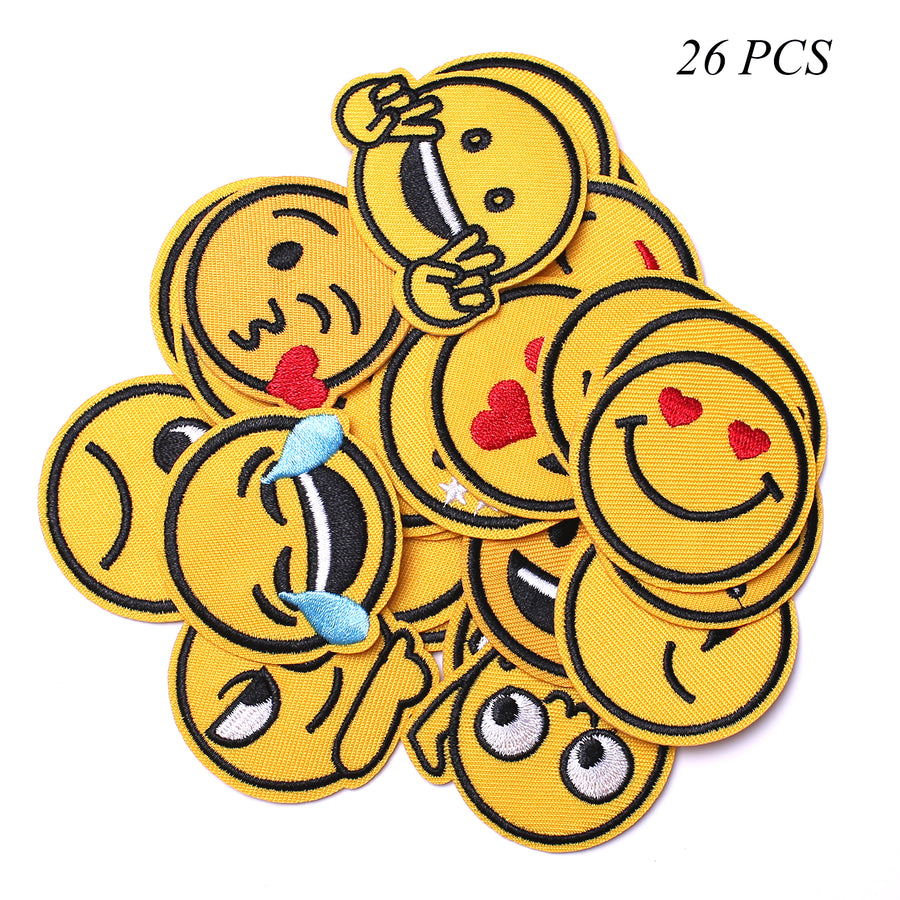 J.CARP Embroidered Iron on Patches, Cute Sewing Applique for Jackets, Hats, Backpacks, Jeans, DIY Accessories, 26PCS emoj