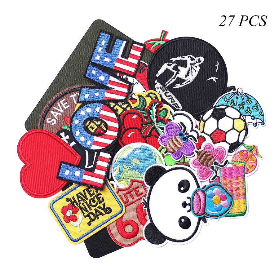 J.CARP Cool Embroidered Iron on Patches, Cute Sewing Applique, Assorted for Girls 27PCS
