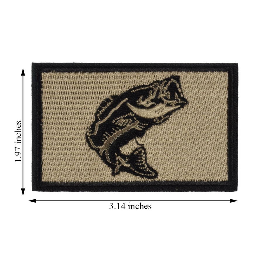 2Pcs Fishing Patches, Wildlife Largemouth Bass Patch, Coyote