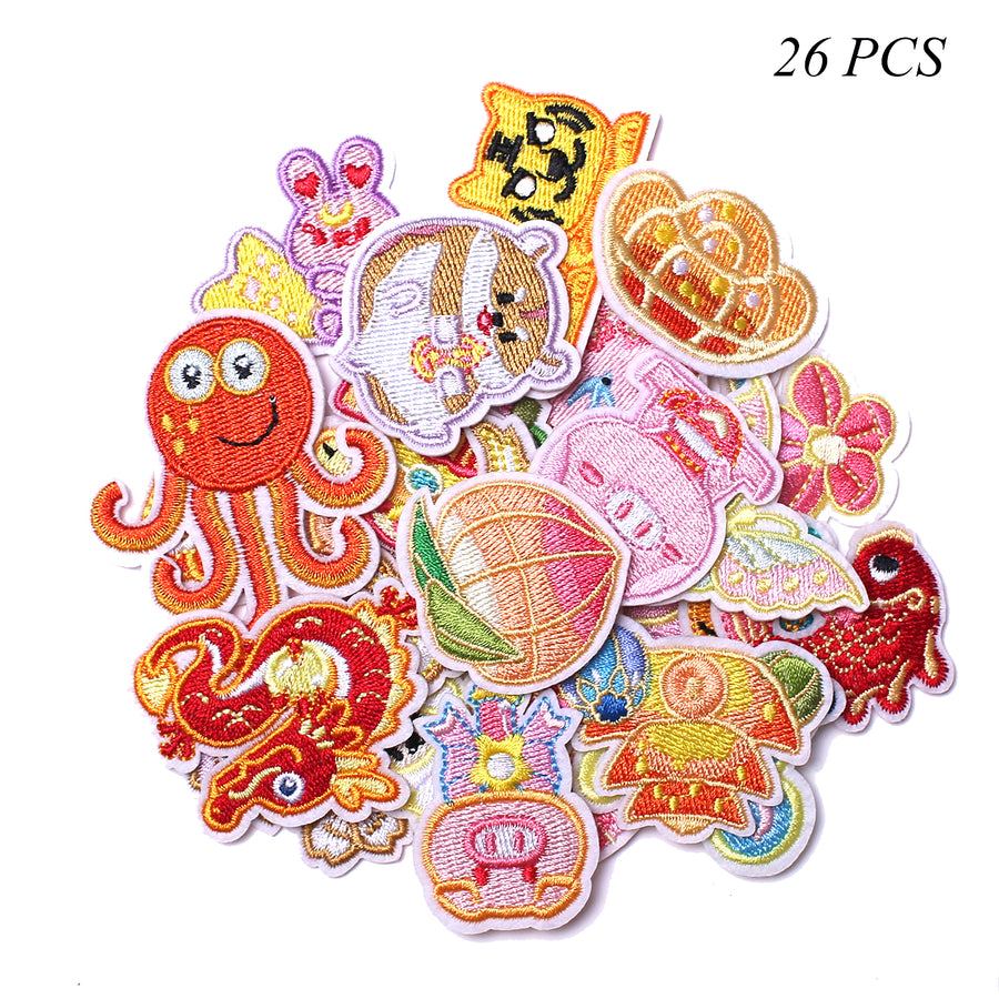 J.CARP Embroidered Iron on Patches, Cute Sewing Applique for Clothes Dress, 26PCS Cartoon Animals
