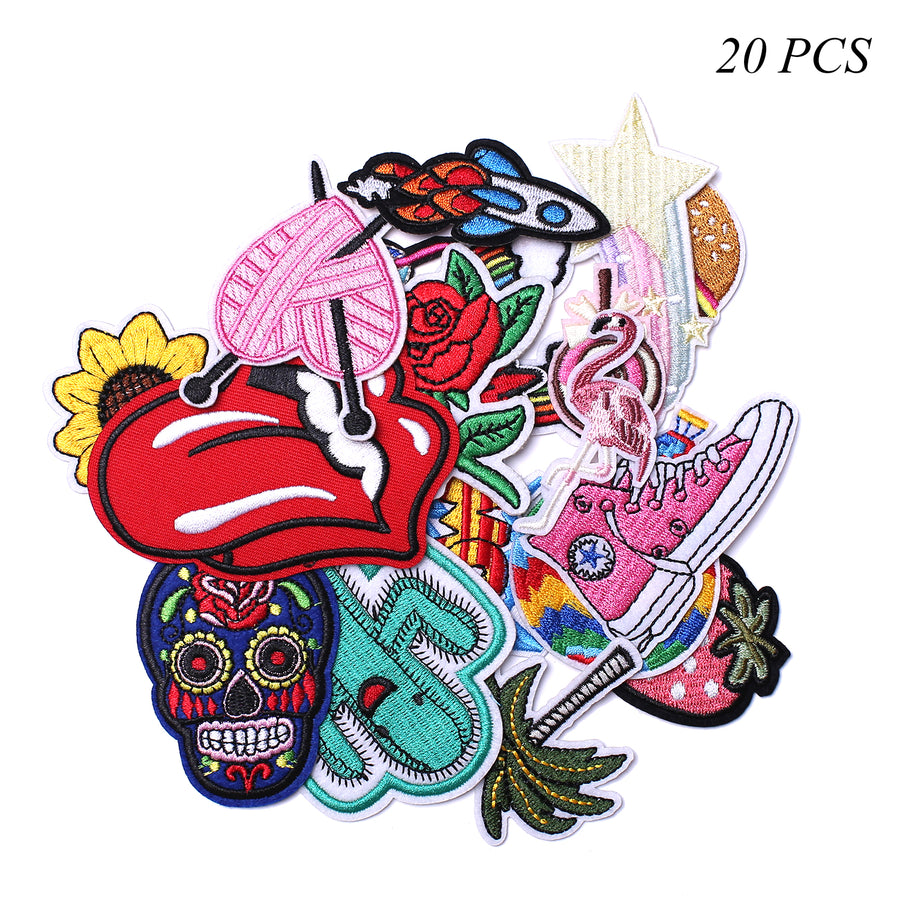 J.CARP Embroidered Iron on Patches, Cute Sewing Applique for Clothes Dress, 20PCS