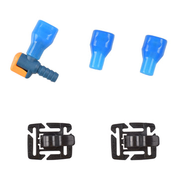 Hydration Accessories Kit, including 1 Shutoff Valve, 2 Replacement Mouthpieces, and 2 tube plastic clips, pack of 5