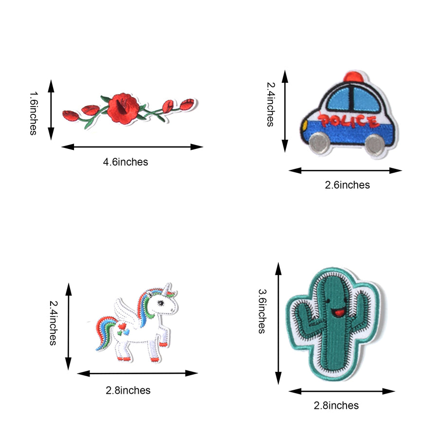 J.CARP Embroidered Iron on Patches, Cute Sewing Applique for Jackets, Hats, Backpacks, Jeans, DIY Accessories, (60PCS)