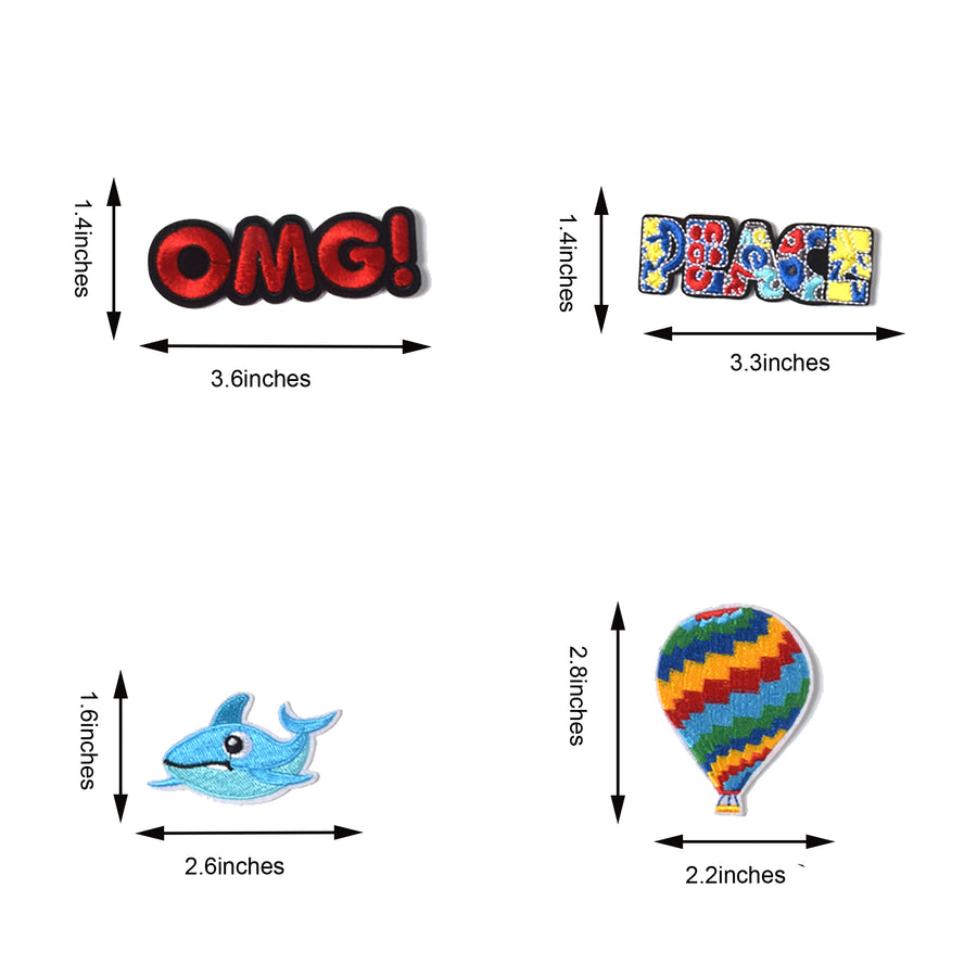 J.CARP Embroidered Iron on Patches, Cute Sewing Applique for Clothes Dress, 30PCS Assorted for Girls