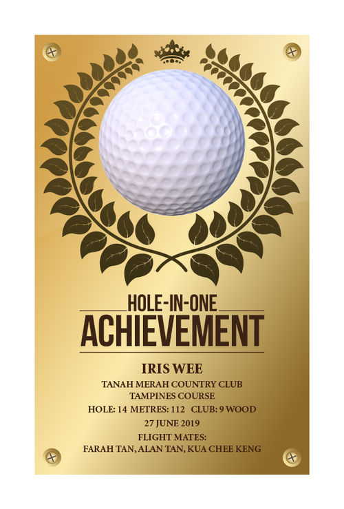 Design 10 - Customisable Acrylic Hole-In-One Plaque