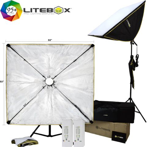 "STUDIO-320S | 32"" Square Softbox Lighting Kit"