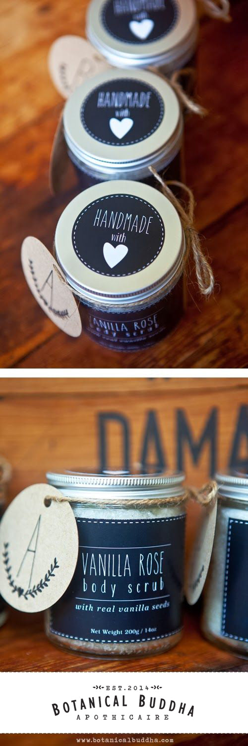 DIY Vanilla Rose Body Scrub Tutorial and Labels