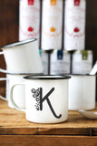 Personalized Floral Initial Enamel Mugs | Custom Enamel Mugs | Engraved Enamel Mugs | Black and White Floral Enamel Mugs