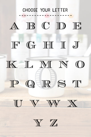 Personalized Initial Enamel Mugs - Custom Enamel Mugs - Engraved Enamel Mugs - Black and White Enamel Mugs