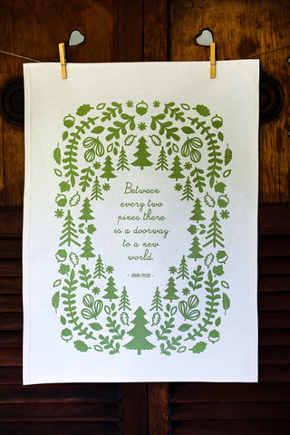 Forest Green Poetry Tea Towel Lord Byron There is Pleasure in the Pathless Woods