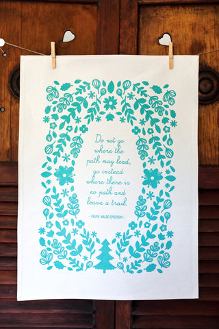 Teal Floral Cotton Tea Towel - Ralph Waldo Emerson Poetry
