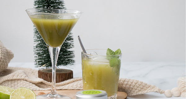 Matcha mocktail en cocktail aperitief