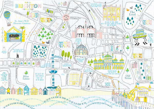 Illustrated Brighton map - fine art print A2 size