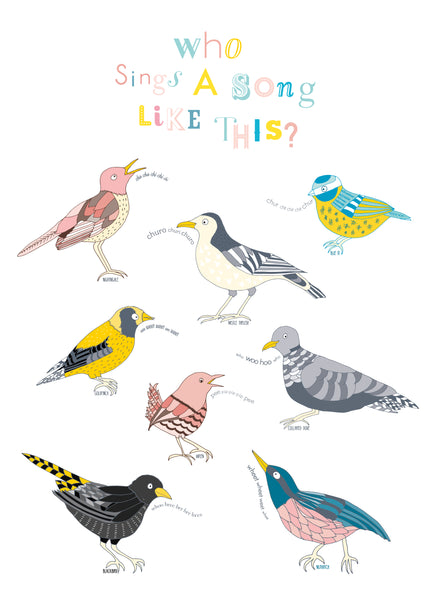 A beautiful fine art print featuring garden birds of Britain and their songs