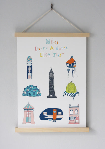 Who lives in a House like this fine art print, children's bedroom gift